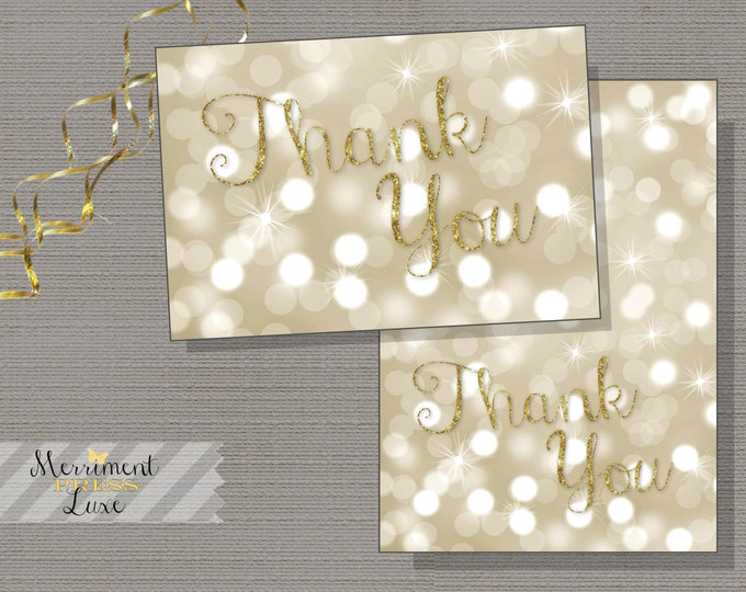 Gold Glitter Bokeh Thank you card, Champagne Bokeh thank you card, Bridal Gold Glitter -INSTANT DOWNLOAD - Genevieve Collection