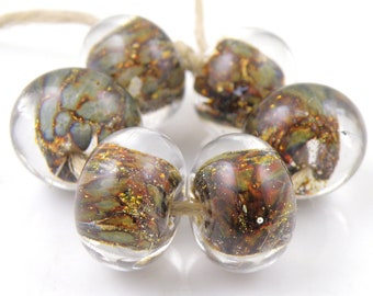 Mystique with Silver Foil Encased SRA Lampwork Handmade Artisan Glass Donut/Round Beads READY to SHIP Set of 6 10x15mm