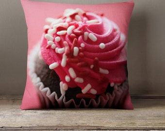 Dorm Decor, Pink Cupcake Pillow Cover, Pillow Cover, Pink Pillow, Cupcake Pillow, Cupcake Home Decor, Gifts for Her, Photo Pillow