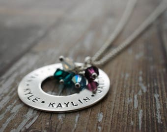 Personalized Mother's Day Eternity Necklace - Sterling Silver Grandma Jewelry w/ Names & Swarovski Birthstone Crystals - Jewelry Gifts
