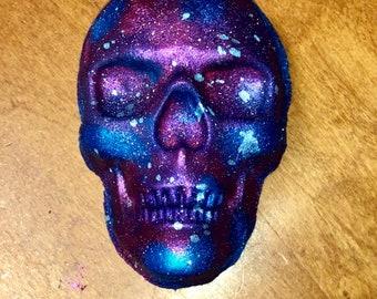 XL, Galaxy, Skull Bath Bomb, Galaxy Bath Bomb, Galaxy Decor, Skull, Skull Decor, Bath Bomb, Halloween, Gifts for her (WITH) Skeleton Charm