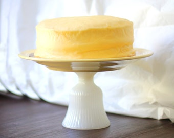 "Yellow Cake Stand / 12"" Cake Pedestal for Custom Cakes / Wedding Cake Stand for Red Velvet Cakes / Cupcake Stand Pedestal"