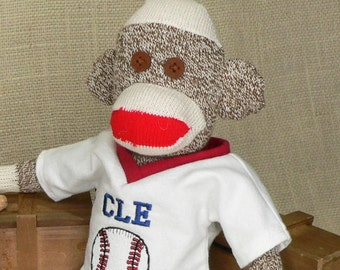 Cleveland Indians Sock Monkey - CLE Baseball Sock Monkey - Baseball Fan Gift - 18 inch tall - Rockford Red Heel Socks