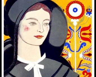 WPA Poster: Visit Pennsylvania 1930s - Giclee Art Print - Amish Girl Poster - Amish Wall Art - Pennsylvania Dutch Poster