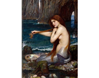 "A Mermaid by John William Waterhouse Canvas Art Print (1482) 12""x8"""