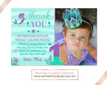 Mermaid 1st Birthday Thank you, Under the sea Thank you, Purple Teal Thank you, Mermaid 1st Birthday, Photo thank you card, Printable DIY