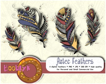 4 Tribal Digatal Feather Clip Art  For Scrapbooking - 4 Feather - Digital Feathers - Aztec Clip Art - Instant Download - Printable DIY