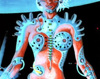 Biomechanoid UV Black Light Fluorescent & Glow In The Dark Phosphorescent Psychedelic Psy Goa Trance Art Postcard