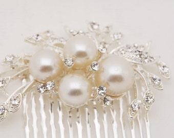 Rhinestone pearl hair comb ,  bridal hair comb, wedding rhinestone hair comb, veil comb - JOLEE comb