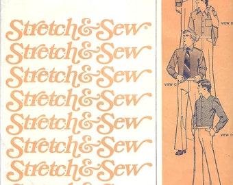 Stretch & Sew 1761 Men's Custom Knit Shirt Pattern, Dress Shirt, Size 34-48, UNCUT