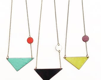 Enamel Triangle Necklaces- Choose a color!