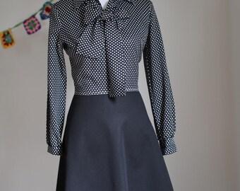 Vintage Women's Black and White Polka Dot Polyester Rockabilly Dress 1970's