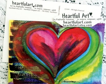 10 HEART for LIFE POSTCARDS Love Wedding Anniversary Thank You Women Friendship Sweetheart Red Valentine Heartful Art by Raphaella Vaisseau