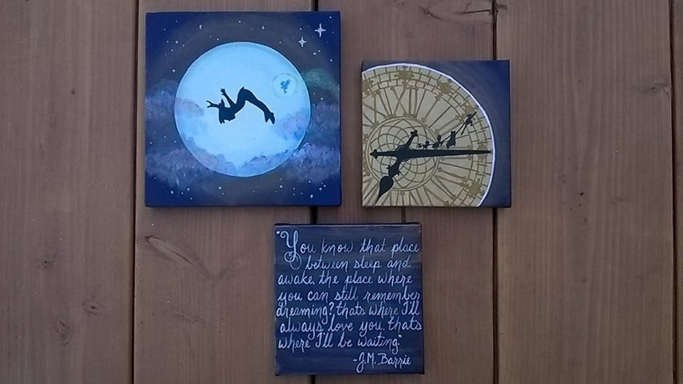 Large Peter Pan Set Canvas Paintings You Know The Place Between Sleep And Awake JM Barrie Quote Clock Tower Moon