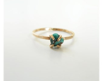 Turquoise Ring, Engagement Ring, Turquoise Engagement Ring, Turquoise Gold Ring, Raw Turquoise, 14K Gold, Engagement Ring for Women