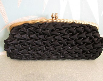 Vintage black ruffled clutch bag/purse, gold-tone frame & clasp