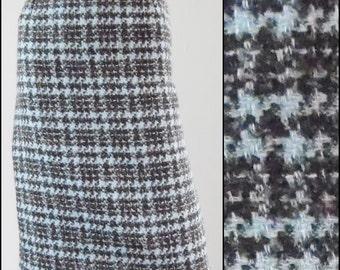 "Vintage blue brown plaid tartan skirt pencil skirt preppy skirt minimalist skirt secretary skirt size 27"" waist"
