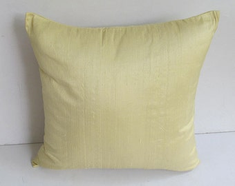 powder yellow dupioni silk pillow. Decorative sulk pillow.  Luxury pillow cover.  Yelow throw pillow. 16inch. In stock sale  20 % off