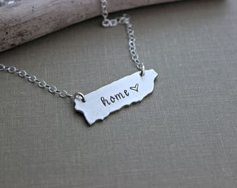Puerto Rico Necklace - Hand stamped Home necklace - Pewter charm with Sterling silver chain - Heart design - custom