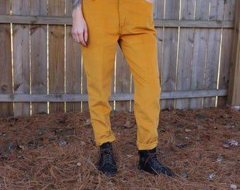 Vintage 70s 1970s Sta Prest For Gals Levi's Yellow Corduroy Pants Rare Big E
