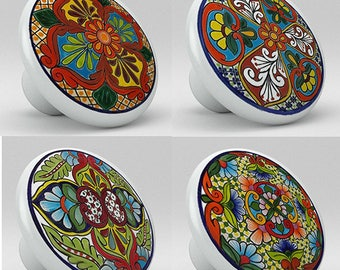 Red, Yellow, Green, Blue Tones Talavera Knobs Set of 4 for Cabinet or Drawers