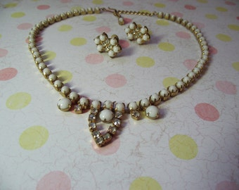 VINTAGE White Glass and Rhinestone Neclace and Earring SET
