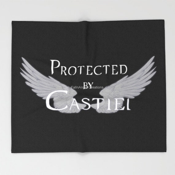 Supernatural Protected by Castiel Throw Blanket, White/Black Text Avail.+ Mult Szs!