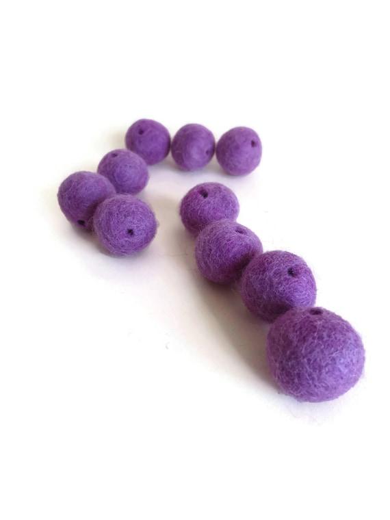 violet purple felt beads