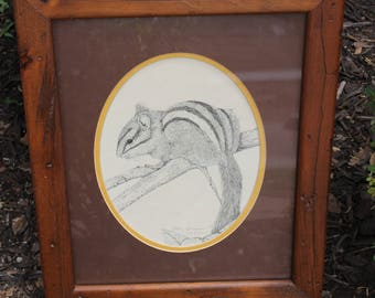 VTG Steve Leonardi Chipmunk Drawing in Rustic Wood Frame Bought Directly from the Artist