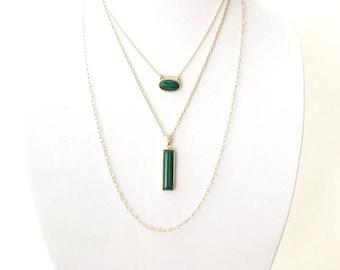 Malachite Multi Layer Necklace, Layering Neckalce, Stone Necklace