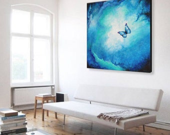 Butterfly Original Painting | Blue Butterfly | Blue Abstract Art | Spring Painting | Butterfly Art | Abstract Painting | Spiritual Painting