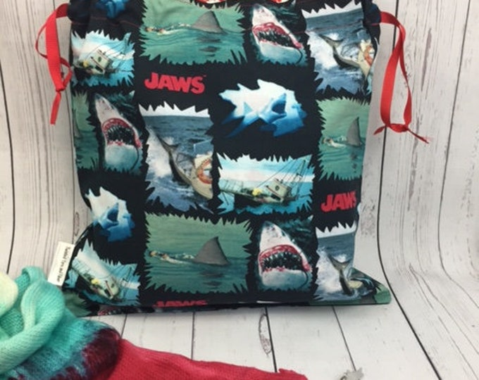 Shark Week Knitting bag and Shark Stitch Marker, Crochet Project Bag, Yarn Bag, Fiber Project Bag, Sock knitting bag, Shawl project bag