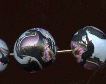 Bead Lot 6 Handmade One of a Kind Abstract Cane 13mm Beads  BL6 2