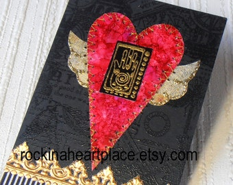 ACEO -  Flying Heart with Hamsa - original art card