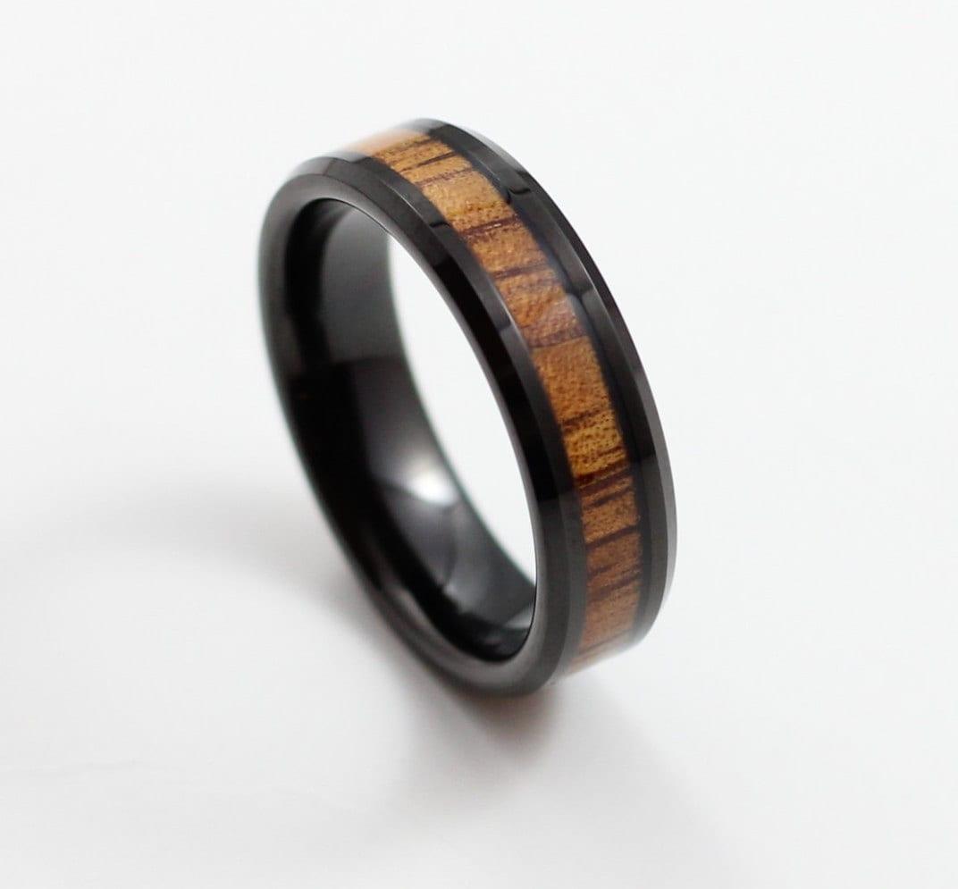 Thin Black Tungsten Ring With Koa Wood Inlay 6mm Wedding