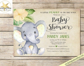 Elephant Baby Shower Invitation Girl Shower Invitation