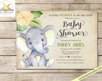 Elephant Baby Shower Invitation, Gender Neutral Shower Invitation, Digital File,  PRINTABLE _1302