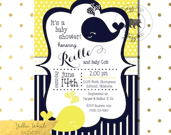 Yellow Whale Baby Shower Invitation