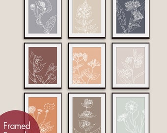 Wild Flowers Botanical Sketches (Series K) - Set of 9 - Art Prints (Featured in Assorted Colors)