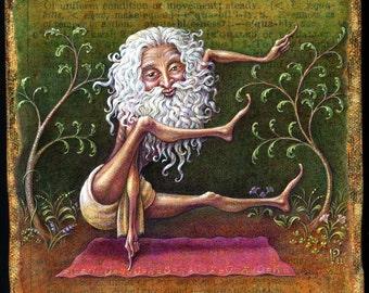 Yoga art print, Equable: Yogi posing as letter E. Funny fitness Inspiration, Balance print, Serenity painting, Odd pose, weird asana art