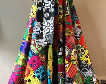 Full Circle High Waist African Wax Print Patchwork Maxi Skirt With Pockets and Patchwork Tie Belt 100% Cotton