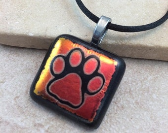 ON SALE Paw Print Necklace, Red Orange Dichroic, Dichroic Pendant, Fused Glass Jewelry, Dichroic Glass Jewelry, Dichroic Pendant Necklace -