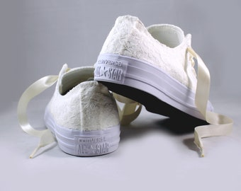 Ivory Lace Bridal Converses  -- Ivory Lace Converse -- Wedding Tennis shoes  - Wedding Converse