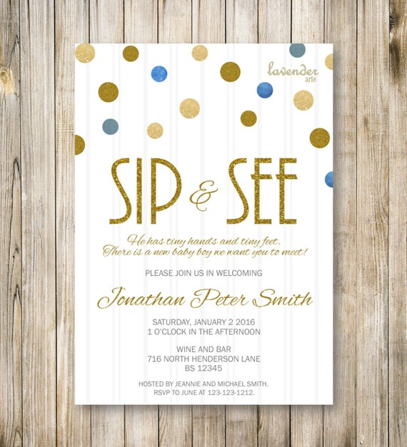 Items similar to sip and see invitation gold blue sip n see party items similar to sip and see invitation gold blue sip n see party invite meet and greet baby boy shower announcement diy printable digital on etsy m4hsunfo