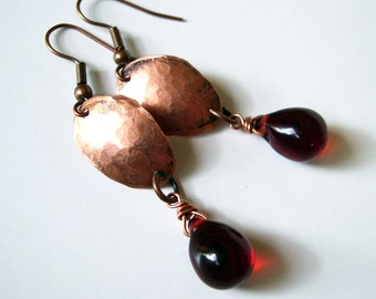 Copper Earrings Red Bead Dangles - Free Domestic Shipping