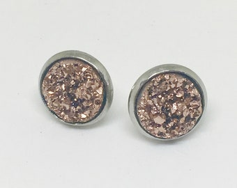 Brown Druzy Stud Earrings