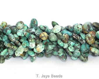African Turquoise Drop Style Chip Beads - 10x14mm
