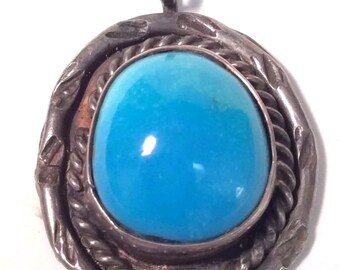 Vintage Native American Sterling Silver Turquoise Charm Pendant