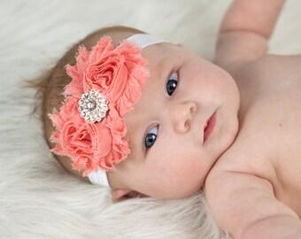 Coral Peach Baby Headband Shabby Headband Shabby chic headband rhinestone newborn headband flower headband baby girl headband