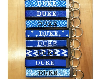 Duke Key Fob - Duke Keychain - Duke Wristlet - Duke University - Blue Devils - Durham NC - Royal Blue and White Key Fob - Graduation